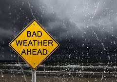 Bad weather ahead sign