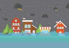 Flooded town clip art cropped